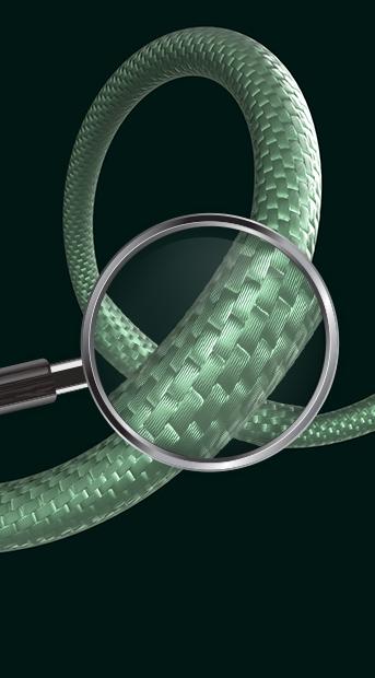 Lupa dando zoom no revestimento de nylon trançado de alta resistência do Cabo Dragon