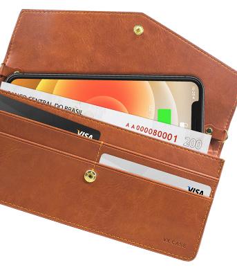 Handbag aberta com celular e cartões