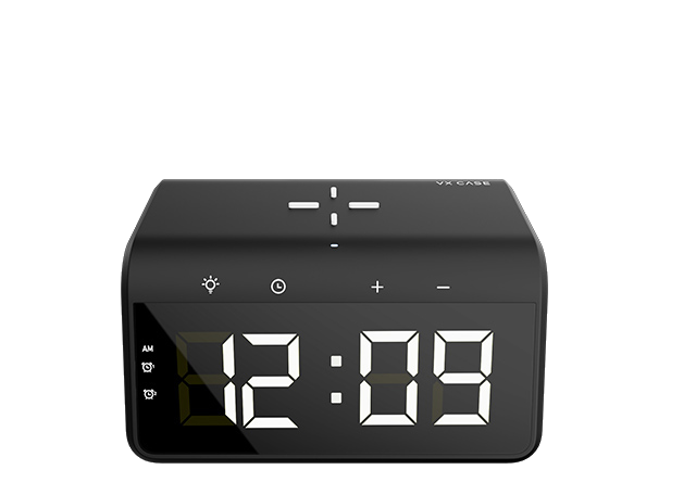 Balões indicando as funções dos botões do produto Clock Charger
