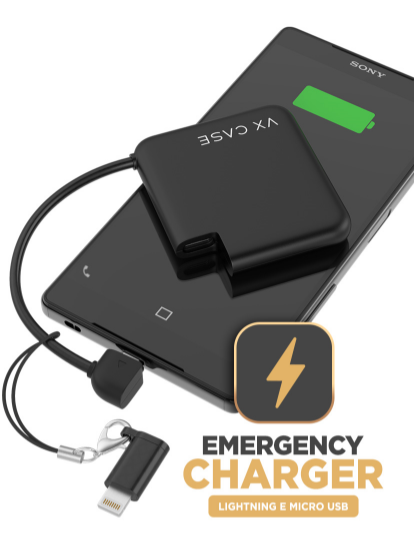 Foto do Emergency Charger Lightning e Micro USB