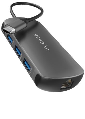 O Hub 8 em 1 VX Case possui entrada para internet via cabo