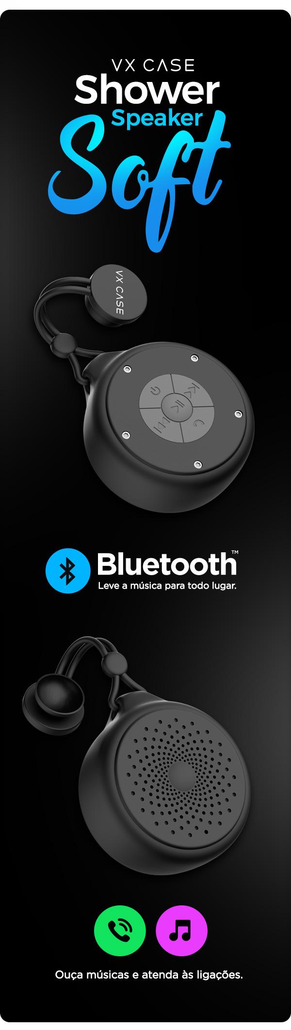 Shower Speaker tem conexão bluetooth e permite ouvir músicas e atender a ligações
