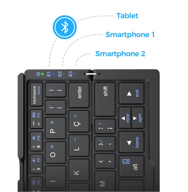 Indicadores de conexão do produto Teclado Bluetooth para até 3 dispositivos