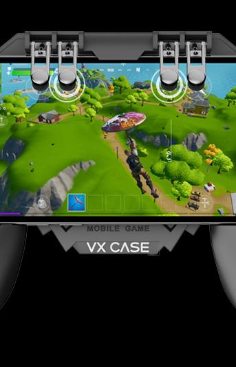 Produto VXGamepad sendo utilizado em um smartphone